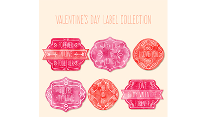 6 watercolor Valentine label vector material