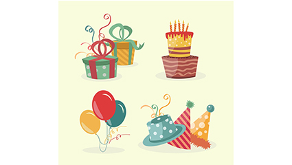 4 creative birthday element vector material